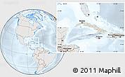 Shaded Relief Location Map of Cuba, lighten, semi-desaturated