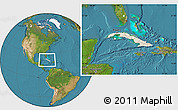 Shaded Relief Location Map of Cuba, satellite outside