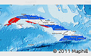 Flag Map of Cuba, shaded relief outside