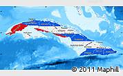 Flag Map of Cuba, single color outside, bathymetry sea