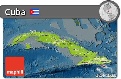 Free Physical Map of Cuba darken
