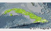 Physical Map of Cuba, darken, semi-desaturated