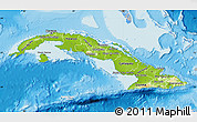 Physical Map of Cuba, lighten, desaturated, land only