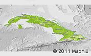 Physical Map of Cuba, lighten, desaturated