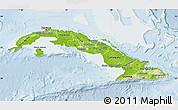 Physical Map of Cuba, lighten