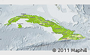 Physical Map of Cuba, lighten, semi-desaturated