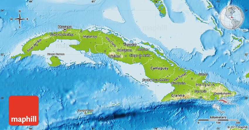 Physical Map Of Cuba - Map of cuba