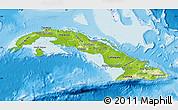 Physical Map of Cuba, single color outside
