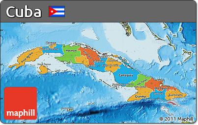 Free Political Map Of Cuba Satellite Outside Bathymetry Sea - Political map of cuba