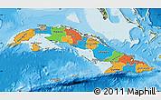 Political Map of Cuba, satellite outside, bathymetry sea