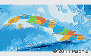 Political Map of Cuba, shaded relief outside, bathymetry sea