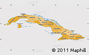 Political Shades Map of Cuba, cropped outside