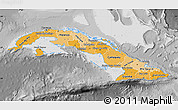 Political Shades Map of Cuba, desaturated