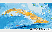 Political Shades Map of Cuba, physical outside