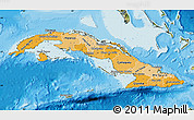 Political Shades Map of Cuba, satellite outside, bathymetry sea