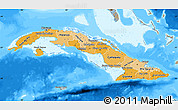 Political Shades Map of Cuba, semi-desaturated, land only