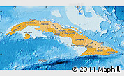 Political Shades Map of Cuba, shaded relief outside, bathymetry sea