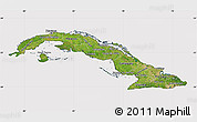 Satellite Map of Cuba, cropped outside