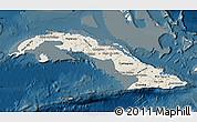 Shaded Relief Map of Cuba, darken
