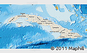 Shaded Relief Map of Cuba, political outside, shaded relief sea