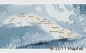 Shaded Relief Map of Cuba, semi-desaturated