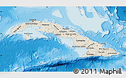 Shaded Relief Map of Cuba, single color outside
