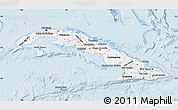 Silver Style Map of Cuba