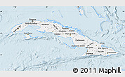 Silver Style Map of Cuba, single color outside