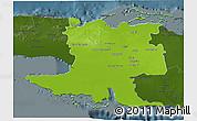 Physical 3D Map of Matanzas, darken