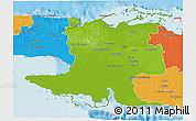 Physical 3D Map of Matanzas, political outside