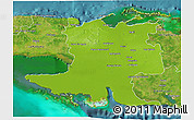 Physical 3D Map of Matanzas, satellite outside