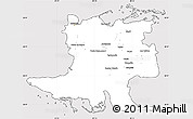 Silver Style Simple Map of Matanzas, cropped outside
