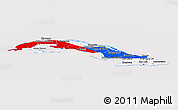 Flag Panoramic Map of Cuba, flag centered