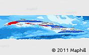 Flag Panoramic Map of Cuba, single color outside, bathymetry sea
