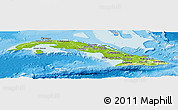 Physical Panoramic Map of Cuba, lighten, desaturated, land only