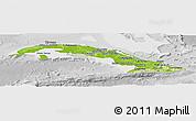 Physical Panoramic Map of Cuba, lighten, desaturated