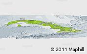 Physical Panoramic Map of Cuba, lighten, semi-desaturated