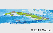 Physical Panoramic Map of Cuba, political outside
