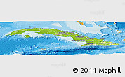 Physical Panoramic Map of Cuba, political shades outside, shaded relief sea