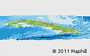 Physical Panoramic Map of Cuba, single color outside, bathymetry sea, shaded relief sea