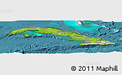 Physical Panoramic Map of Cuba, single color outside, satellite sea