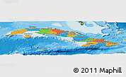 Political Panoramic Map of Cuba, satellite outside, bathymetry sea