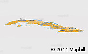Political Shades Panoramic Map of Cuba, cropped outside