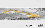 Political Shades Panoramic Map of Cuba, desaturated