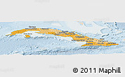 Political Shades Panoramic Map of Cuba, lighten