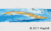 Political Shades Panoramic Map of Cuba, satellite outside, bathymetry sea