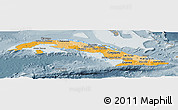 Political Shades Panoramic Map of Cuba, semi-desaturated