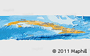Political Shades Panoramic Map of Cuba, shaded relief outside, bathymetry sea