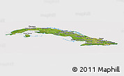 Satellite Panoramic Map of Cuba, cropped outside