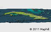 Satellite Panoramic Map of Cuba, darken